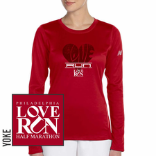 Love Run Philadelphia Half Marathon: 'BigLove' Women's LS Tech Tee - Cherry Red - by New Balance<br><font color=red><i>Check back after the event</i></font>
