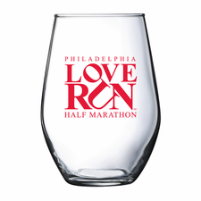 Love Run Philadelphia Half Marathon: 'Block Love Run' Stemless Wine Glass - Clear