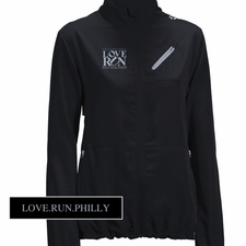 Love Run Philadelphia Half Marathon: 'Left Chest Embroidery' Women's 'Run Away' Full Zip Tech Jacket - Black<br><font color=red><i>Check back after the event</i></font>