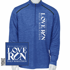 Love Run Philadelphia Half Marathon: 'Left Chest Print - Square Logo' Men's 1/4 Zip Tech Pullover - Vivid Blue - by Paragon<br><font color=red><i>Check back after the event</i></font>