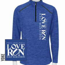 Love Run Philadelphia Half Marathon: 'Left Chest Print - Vertical' Women's 1/4 Zip Tech Pullover - Vivid Blue - by Paragon