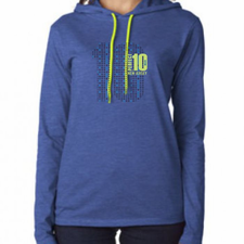 Perfect 10 Miler: 'Big 10' Women's LS Lightweight Hoody Tee - Heather Blue - by Anvil�