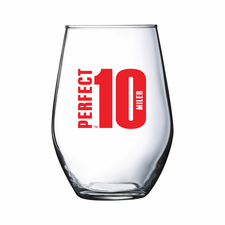 Perfect 10 Miler: 'Event Logo' Stemless Wine Glass - Clear