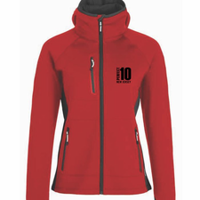 Perfect 10 Miler: 'Left Chest Embroidery' Women's Soft-Shell Hooded Full Zip Jacket - Red - by Phantom™