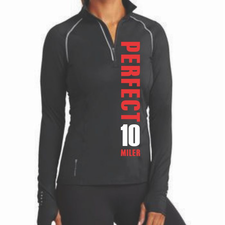 Perfect 10 Miler: 'Left Chest Print - Vertical' Women's Tech 1/4 Zip Pullover - Black - by OGIO®