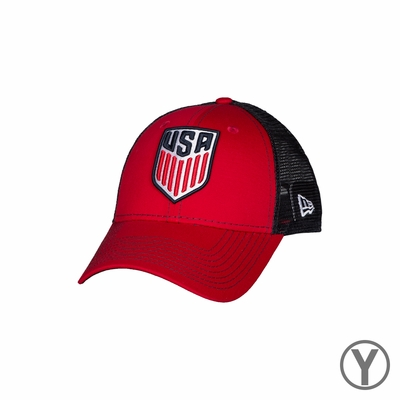 Kids New Era U.S. Soccer 9FORTY Bold Mesher Hat - Red/Navy - Click to enlarge