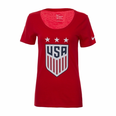 Women's Nike USA 3-Star Crest Tee - University Red - Click to enlarge