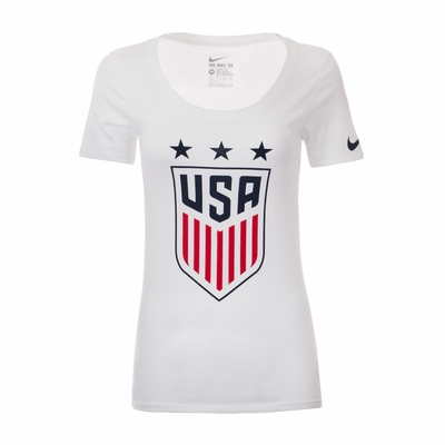 Women's Nike USA 3-Star Crest Tee - White - Click to enlarge
