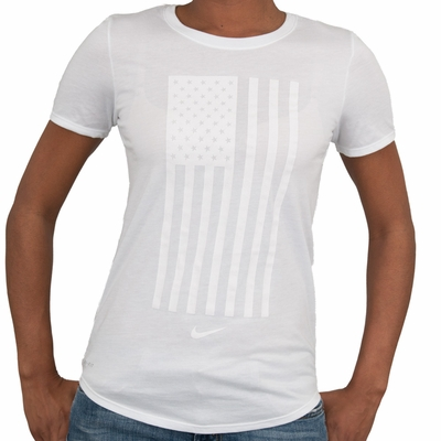 Women's Nike USA Tonal Flag Tee - White - Click to enlarge