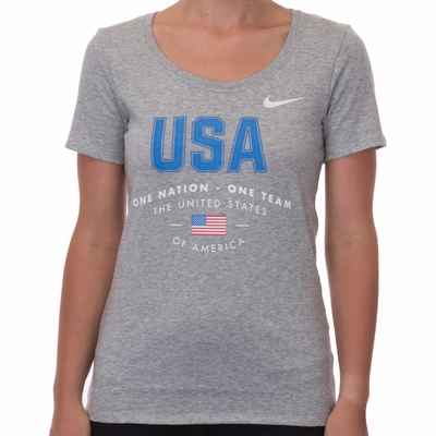 Women's Nike USA Verbiage Tee - DK Grey Heather - Click to enlarge