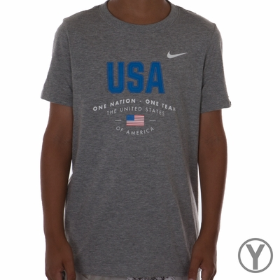Youth Nike USA Verbiage Tee - DK Grey Heather - Click to enlarge