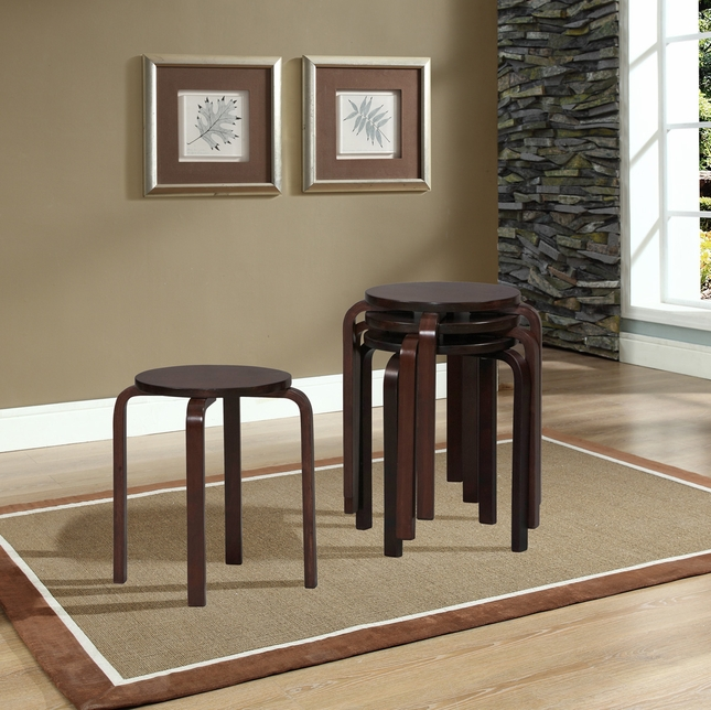 Wenge Finish Set of 4 Bentwood Stacking Stools