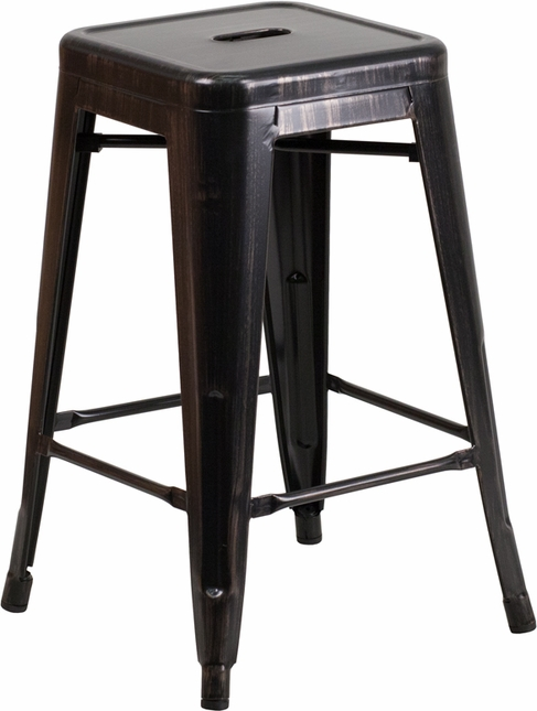 24'' High Backless Black Antique Gold Metal Indoor Outdoor Counter Height Stool