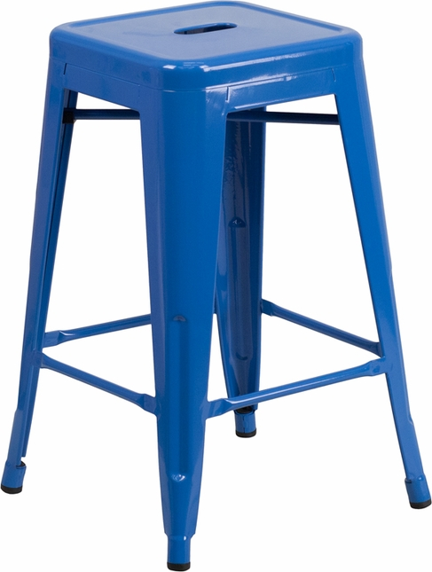 24'' High Backless Blue Metal Indoor Outdoor Counter Height Stool W/ Square Seat