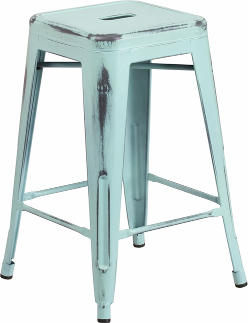 24'' High Backless Distressed Dream Blue Green Metal Outdoor Counter Height Stool
