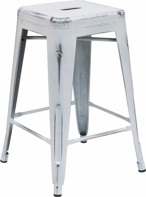24'' High Backless Distressed White Metal Indoor-outdoor Counter Height Stool