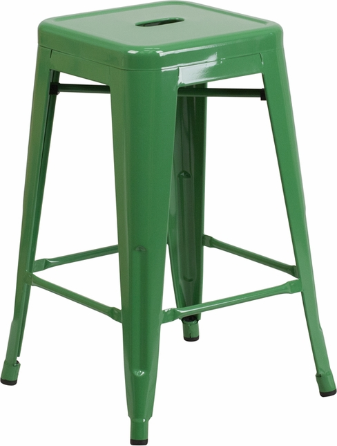 24'' High Backless Green Metal Indoor Outdoor Counter Height Stool W/ Square Seat