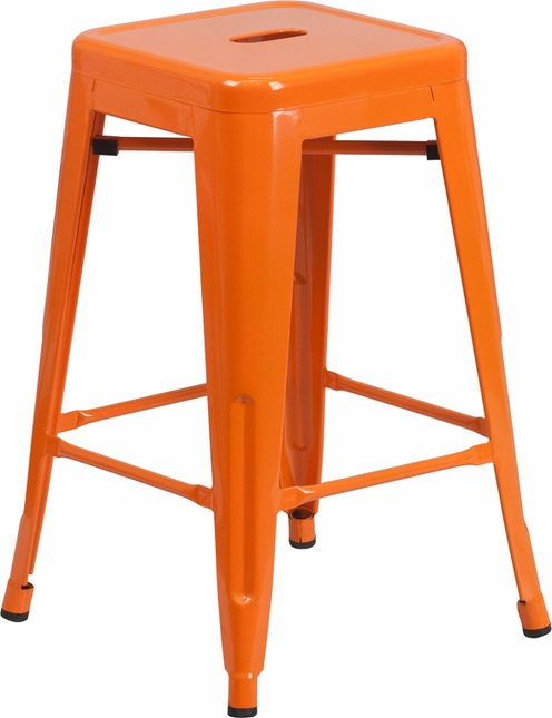 24'' High Backless Orange Metal Indoor Outdoor Counter Height Stool