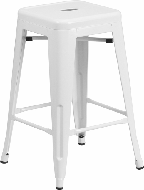 24'' High Backless White Metal Indoor Outdoor Counter Height Stool W/ Square Seat