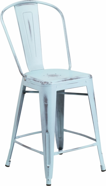 24'' High Distressed Dream Blue Metal Indoor Outdoor Counter Height Stool W/ Back