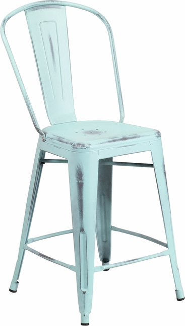 24'' High Distressed Dream Blue Green Metal Indoor Outdoor Counter Height Stool W/ Back