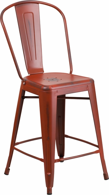 24'' High Distressed Kelly Red Metal Indoor Outdoor Counter Height Stool W/ Back