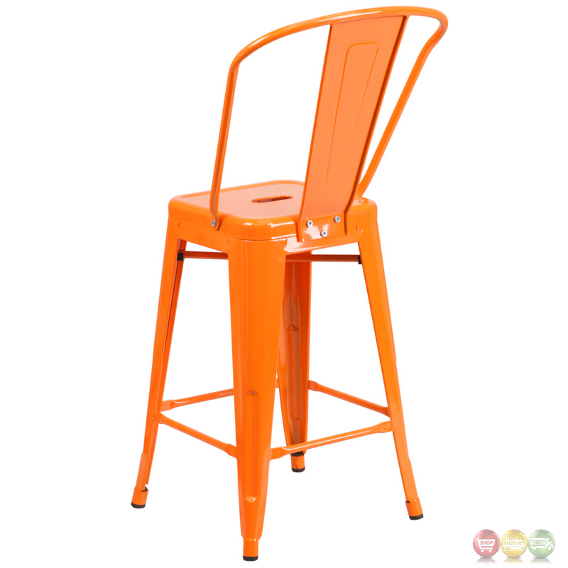 Discounted Patio Furniture Sets 24'' High Orange Metal Indoor-outdoor Counter Height Stool With Back