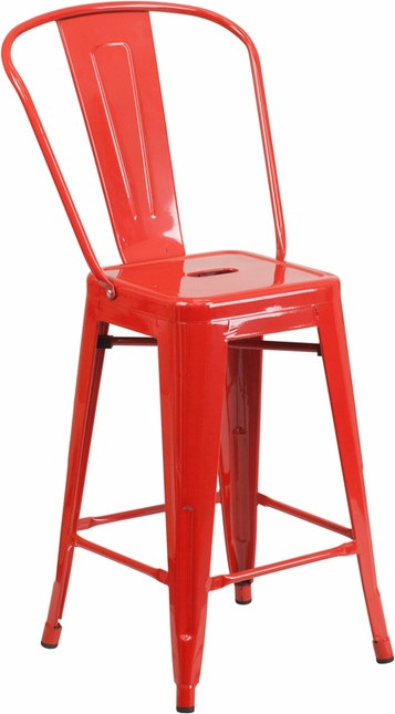 24'' High Red Metal Indoor-outdoor Counter Height Stool With Back