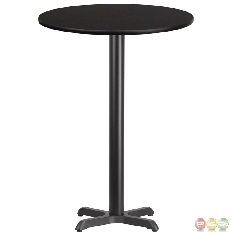 24 Round Black Laminate Table Top With 18 Round Bar