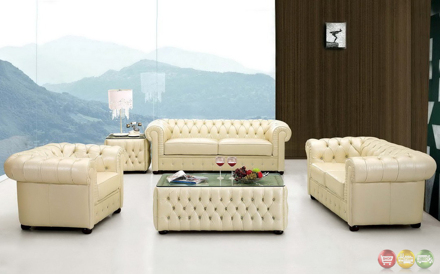 258 rhinestone tufted chesterfield chair in cream beige top grain leather - Canape chesterfield beige ...