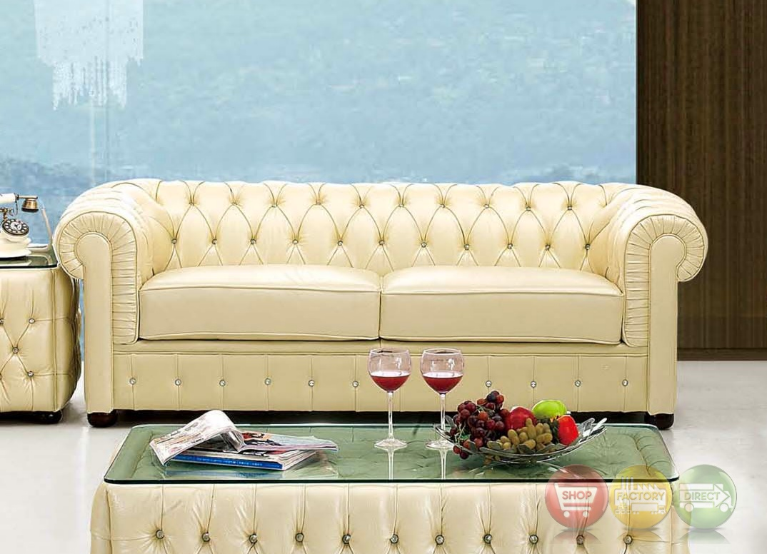 258 rhinestone tufted chesterfield sofa in beige leather ebay - Canape chesterfield beige ...