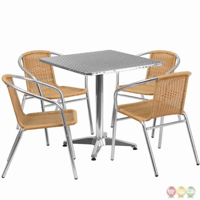 27 5 39 39 square aluminum indoor outdoor table with 4 beige rattan chairs