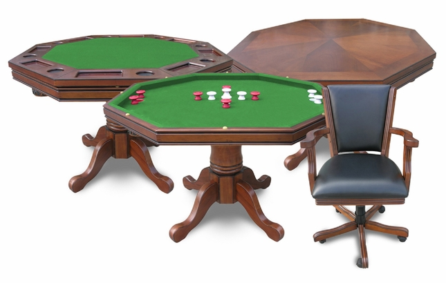 3 In 1 Walnut Finish Poker Game Table And Chair Set