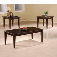 3 Piece Cappuccino Finish Wood Coffee And End Table Set