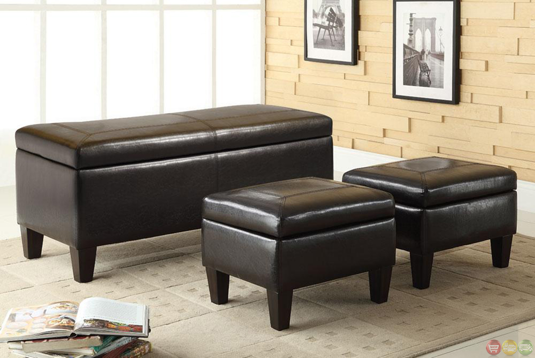 3 Piece Vinyl Upholstery Storage Bench And Ottoman Set