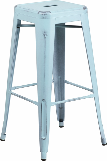 30'' High Backless Distressed Dream Blue Metal Indoor-outdoor Barstool