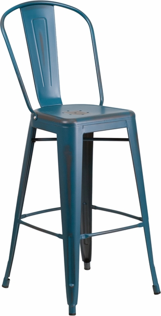 30'' High Distressed Kelly Blue Metal Indoor-outdoor Barstool With Back