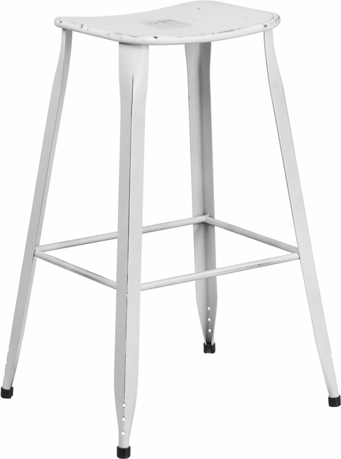 30'' High Distressed White Metal Indoor-outdoor Barstool