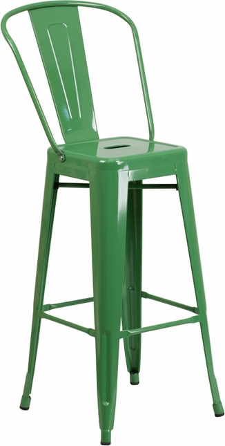 30'' High Green Metal Indoor-outdoor Barstool With Back