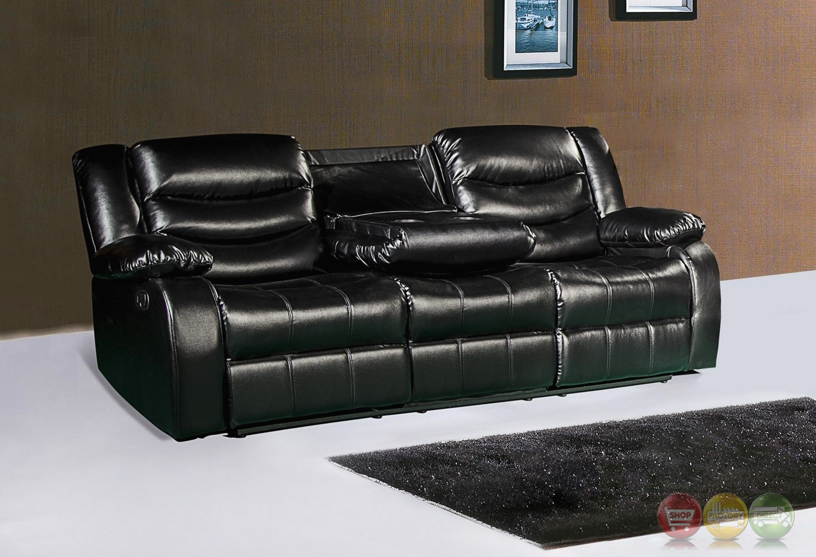 644bl black leather reclining sofa with drop down console