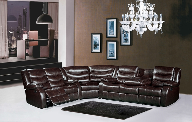 644BR Brown Leather Reclining Sectional Sofa with Drop Down Console