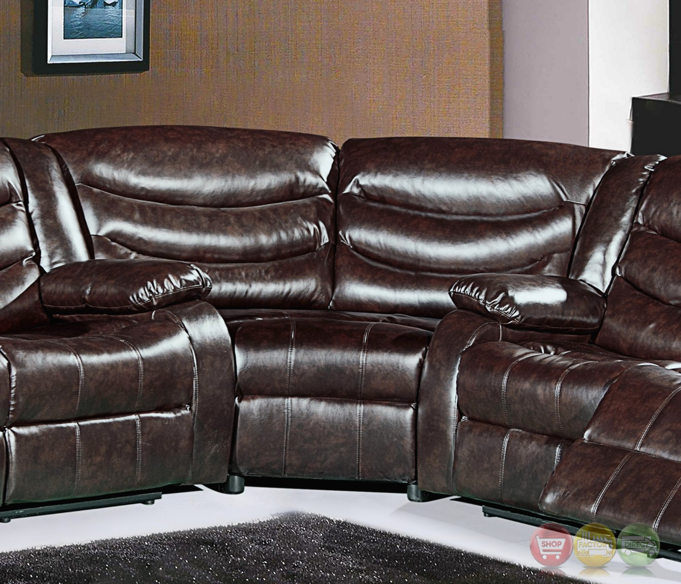 644br Brown Leather Sectional Corner Wedge