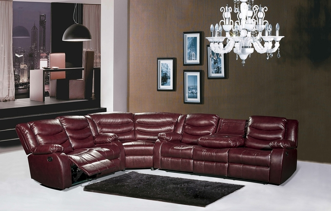 644BURG Burgundy Leather Reclining Sectional Sofa With Drop Down Console