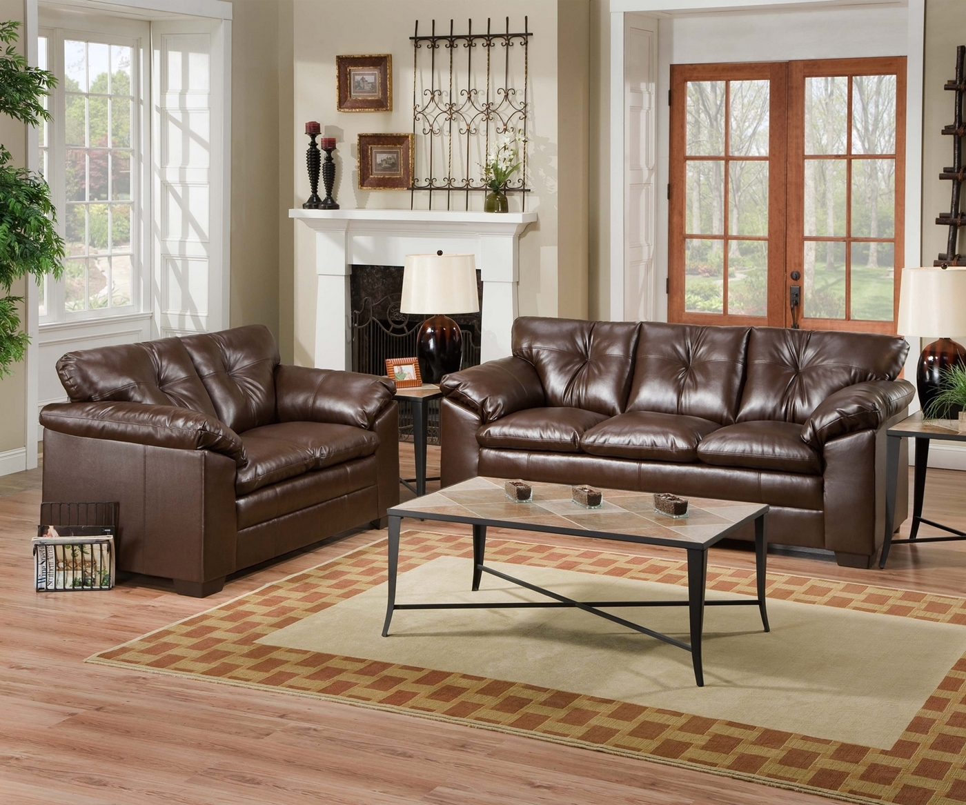 6559 Sebring Coffee Leather Sofa & Love Seat Set Simmons