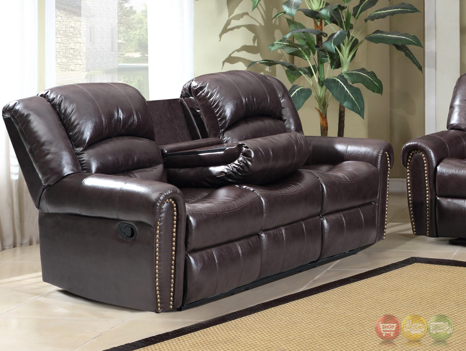 684 Brown Leather Reclining Sofa With Console And Nailhead