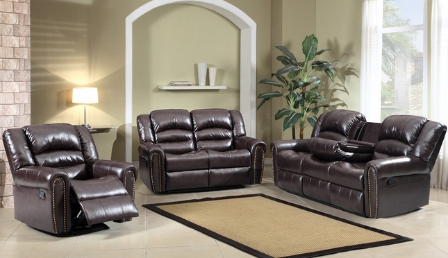 684 Brown Leather Reclining Sofa & Loveseat with Console And Nail head Trim