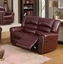 686 Burgundy Leather Traditional Reclining Sofa & Loveseat Set with Nail head Trim