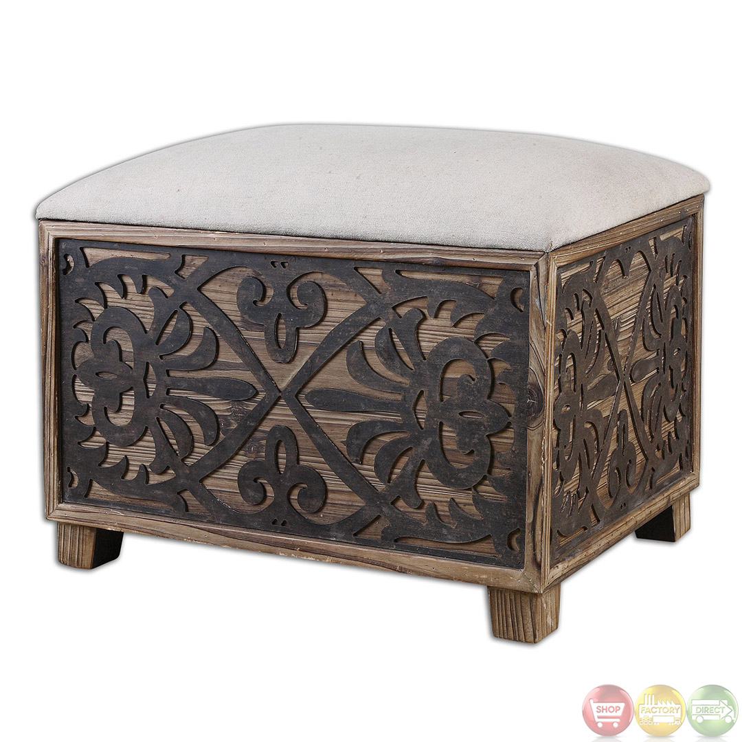 Small Wooden Bench : Abelardo Rustic Wooden Cushioned Small Bench 23132