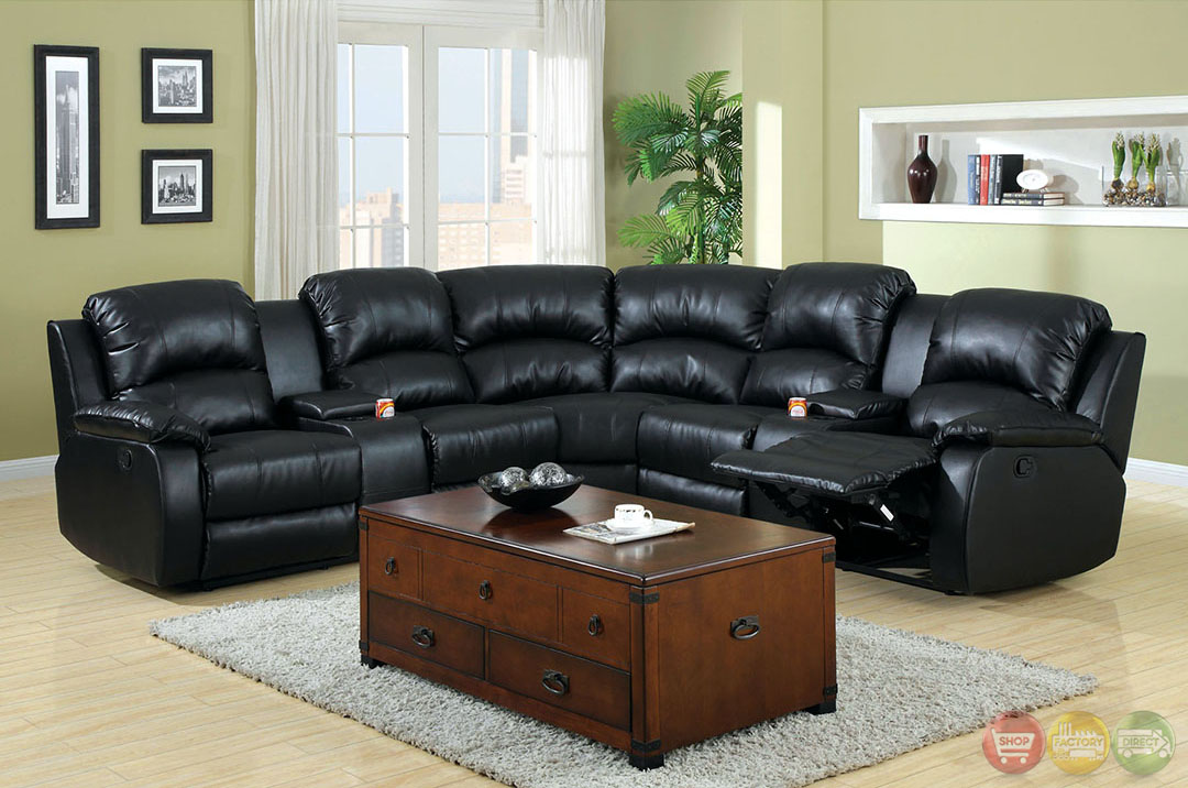 Aberdeen Black Bonded Leather Sectional Sofa Set W Cup Holders