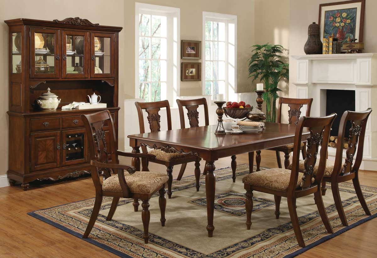 cherry brown finish transitional dining set